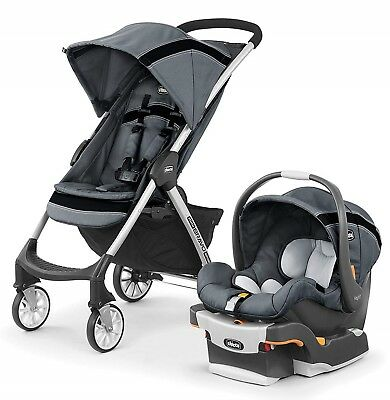 Chicco Mini Bravo Sport Baby Travel System Stroller w/ KeyFit Car Seat Carbon
