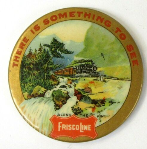 early vintage FRISCO LINE Railroad Train celluloid full color pocket mirror ^