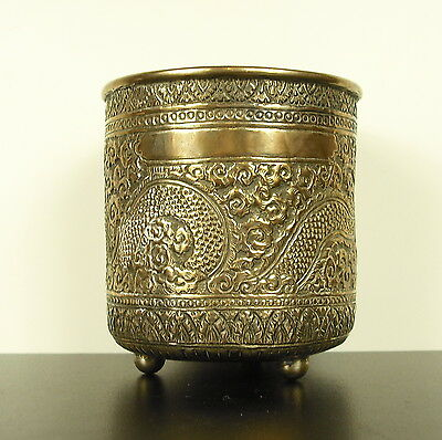 Pot Tripod choose Dragon Copper Silver China 1900 China Silvered H:10,5 CM