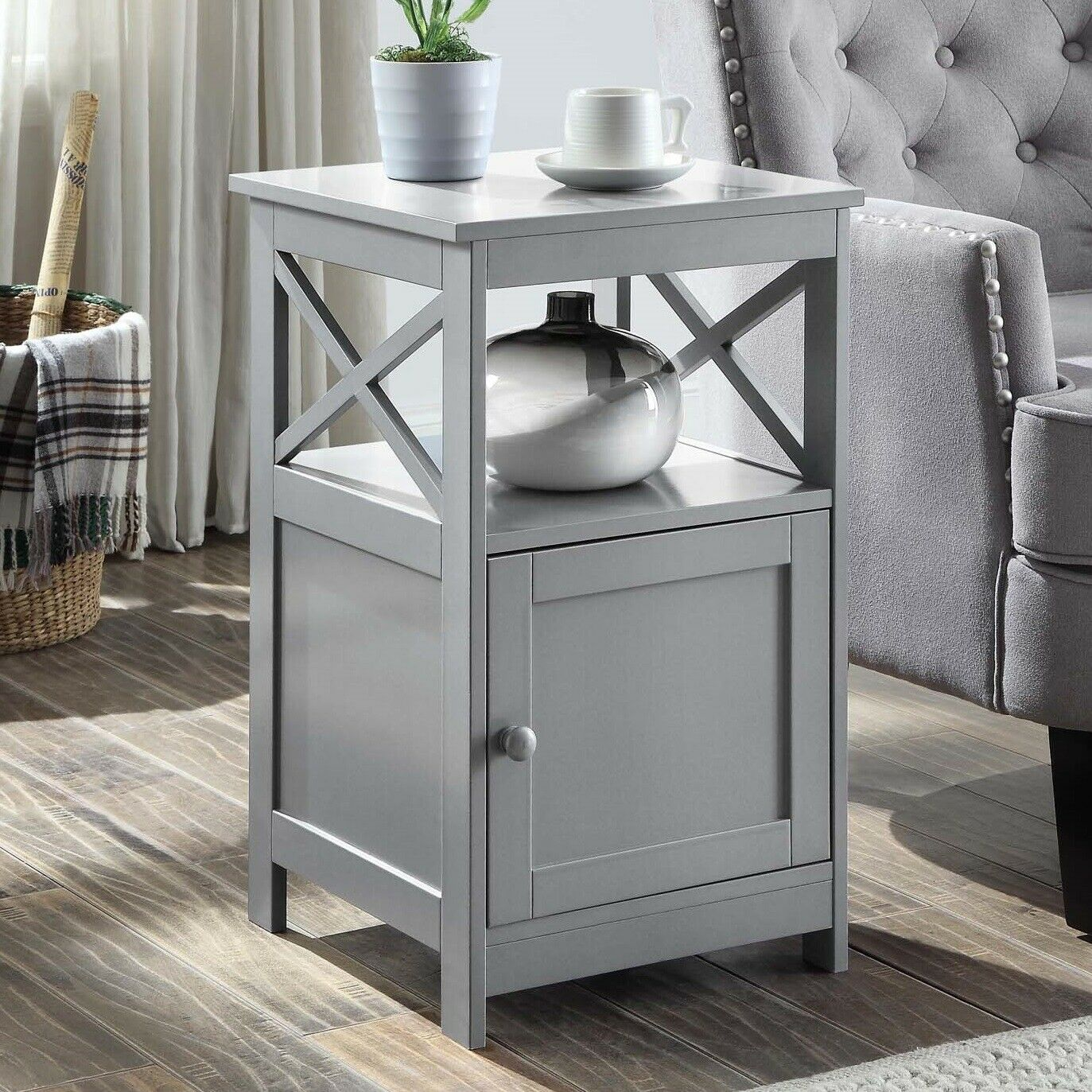 Modern Side Table W Cabinet Storage Square Lamp Accent Decor Display Stand Gray Ebay