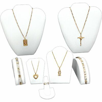 White Leatherette Jewelry Display 6 Pc Set Bonus