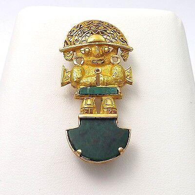 18k Gold Malachite Tumi Peruvian Peru Ceremonial Knife Brooch Pin Pendant 9.7gr