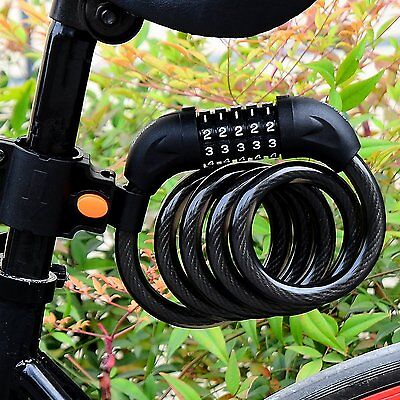 Cycling Security 5 Digit Combination Password Bike Bicycle Cable Chain Lock Combo Lock Security Cable