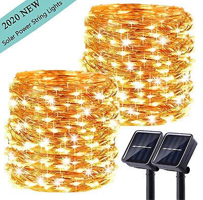LiyuanQ Upgraded Solar Powered String Lights, 2 Pack 8 Modes 100 LED Solar Light