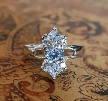 CZ Ring, size 8 3/4 US, Sterling Silver, Bling Ring, Diamond Cut