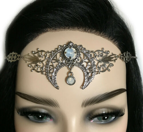 Moon Goddess Pagan Priestess Silver Headpiece Circlet Crown Mucha Gothic Wiccan