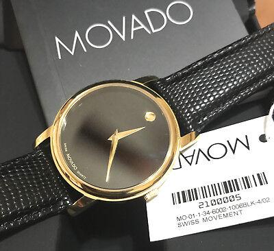 BOX SET MOVADO Museum 2100005 Gold Classic Black Dial Leather Wrist Men's Watch