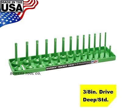 Hansen Global 3 8  Drive Socket Tray Holder Sae Inch Standard Deep Usa Green