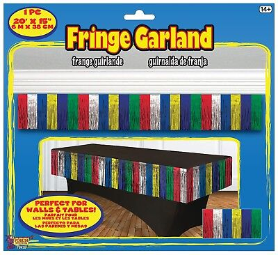 TINSEL FRINGE GARLAND MULTI COLOR TABLE SKIRT Table Fringe Weddings        1-3B - Fringed Table Skirt