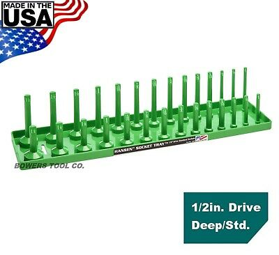 Hansen Global 1 2  Drive Socket Tray Holder Sae Inch Standard Deep Usa Green