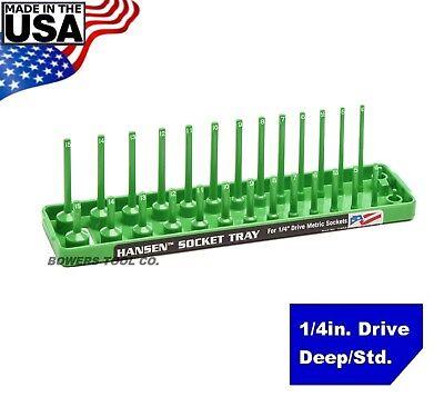 Hansen Global 1 4  Drive Socket Tray Holder Metric Mm Standard Deep Usa Green
