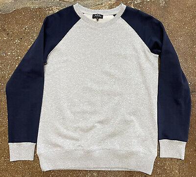 A.P.C. Rue Madame Paris Pullover Crewneck Sweater Gray/Navy Sz Medium
