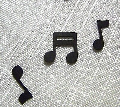 Music notes, Black confetti, 200+ pieces tiny One Inch Quarter and Eighth - Musical Notes Confetti