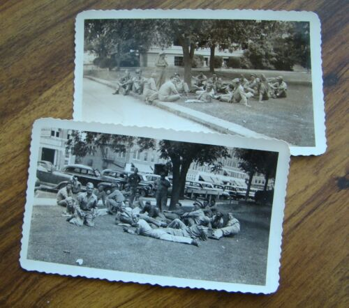 2 WWII era Photos US Army San Angelo TX 1940s soldiers in park snapshot Texas