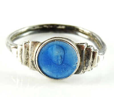 Vintage Religious Ring Mary and Child Adjustable Ring Band
