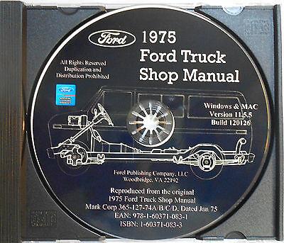 1975 Ford F-series Trucks F100 F150 F250 F350 F800 Shop Service Manual On Cd