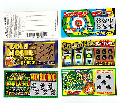- 5 PHONY FAKE ALL WINNING SCRATCH OFF  LOTTERY TICKETS -JOKE- PRANK- GAG GIFT