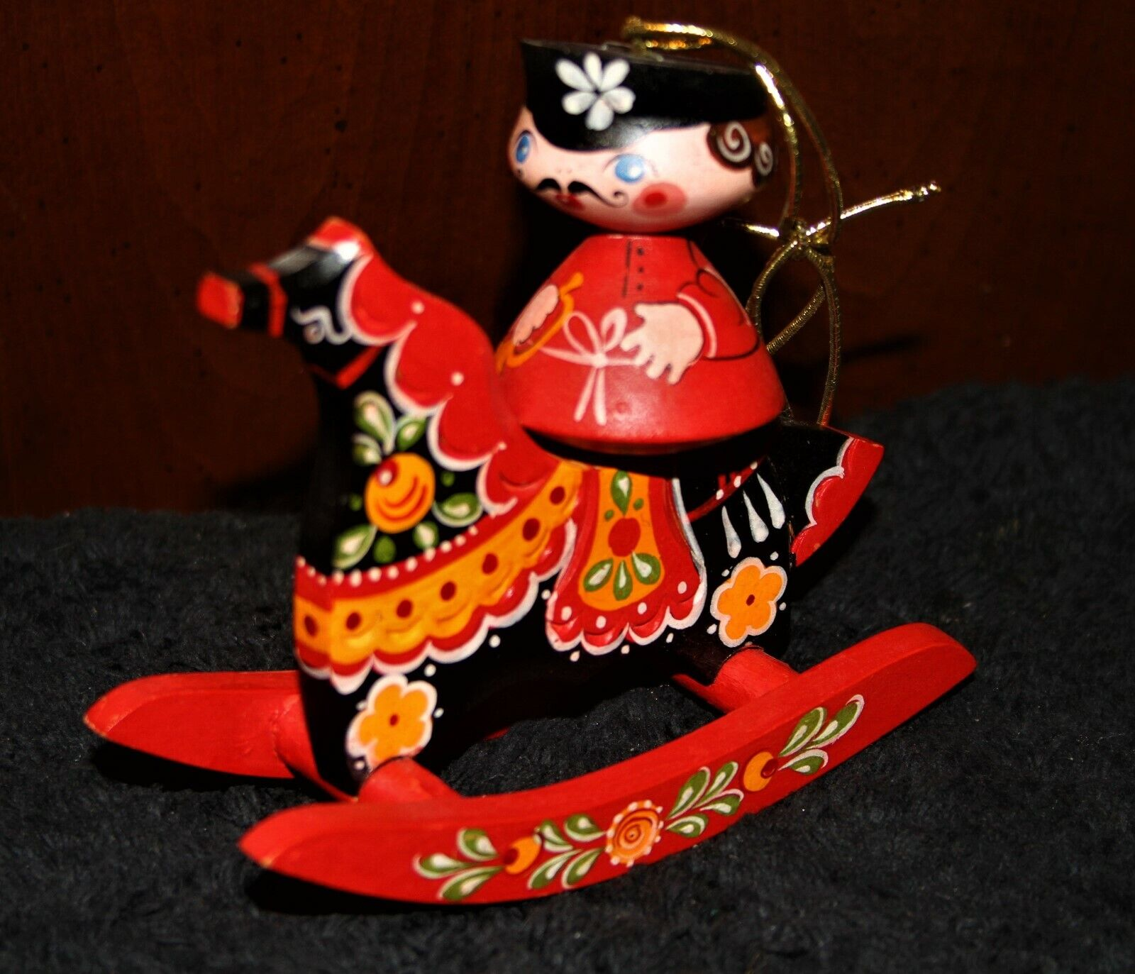 VINTAGE Hand Curved WOODEN Russian ORNAMENT Hand Painted ROCKING HORSE Gorgeous - $11.00