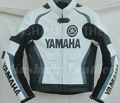 New Mens Black White Motorcycle Racing Cowhide Leather Biker Jacket For Yamaha for sale  Shipping to Canada