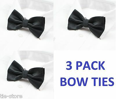 BULK 3 PACK x MENS CHECKERED BOW TIES PRE-TIED MEN'S BOWTIE WEDDING TIE BLACK
