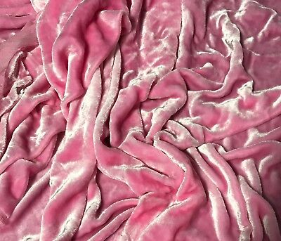 Ballerina Pink - Hand Dyed Very Plush Long Pile Silk Velvet Fabric - Long Pile Plush