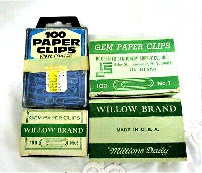 4 Vintage Boxes Of Paper Clips Noestring Gem Willow 1 Blue Vinyl Coated