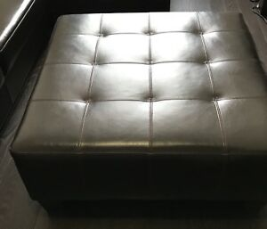 Bonded leather brown ottoman