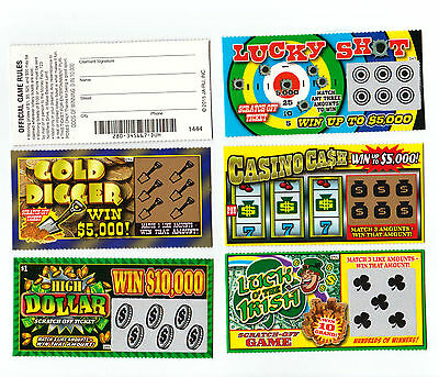 5 Phony Fake All Winning Scratch Off  Lottery Tickets  Joke  Prank  Gag Gift