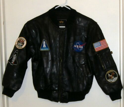 Kids leather NASA jacket by Alpha Industries Medium Many Patches