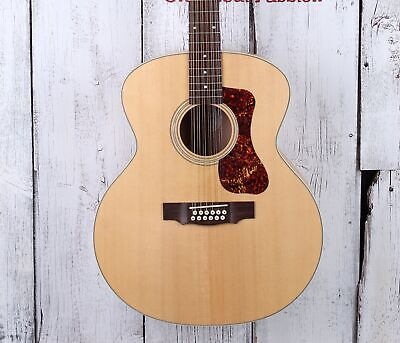 Guild F-2512E Maple 12 String Jumbo Acoustic Electric Guitar Natural w Gig Bag