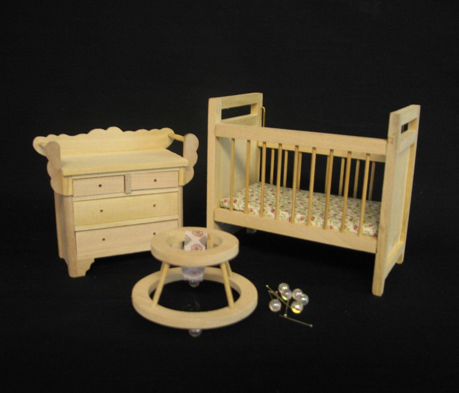 Miniatur Kinderzimmer aus Holz unbehandelt, Für 112 Puppenstube. 3 Teilig.