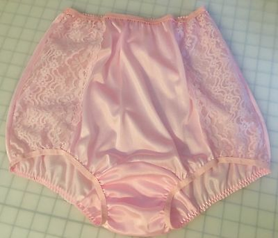Vtg Fair Pink Lace Inset Full Brief Wide Gusset Double Nylon Pin Up Panties L XL