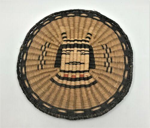 Hand Woven Vintage Piki Tray flat plaque Basket Hopi Koshari kachina unique