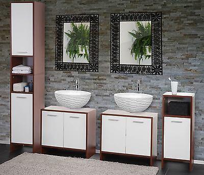 Arredo bagno serie Arezzo 2x sottolavabo+mobile alto+mobiletto marrone-bianco D