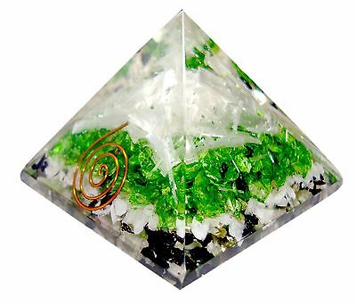 Large 1X 70 75Mm Selenite Peridot Orgone Natural Gemstone Pyramid Large Orgonite