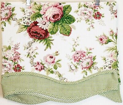 """Vintage Waverly Scalloped Curtain Valance 16"""" x 75"""" Rose Floral & Green Gingham"""