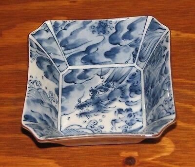 Vintage Porcelain Blue Dragon Octagon Deep Small Serving Bowl Dish / Trinket GC Blue Dragon Deep Bowl
