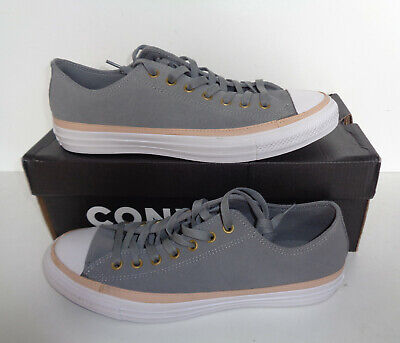CONVERSE Mens All Star Ox Casual Suede Grey Lace Up Trainers Shoes...