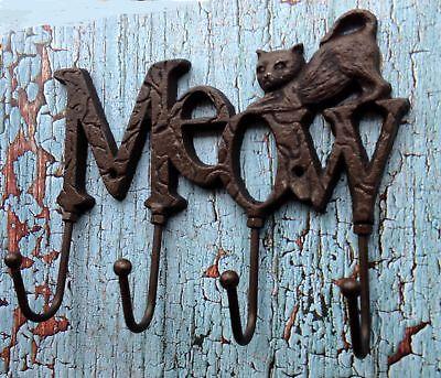 Cast Iron Cat Wall Hook Key Holder Leash Holder Meow Sign with 4 hooks Pet Decor