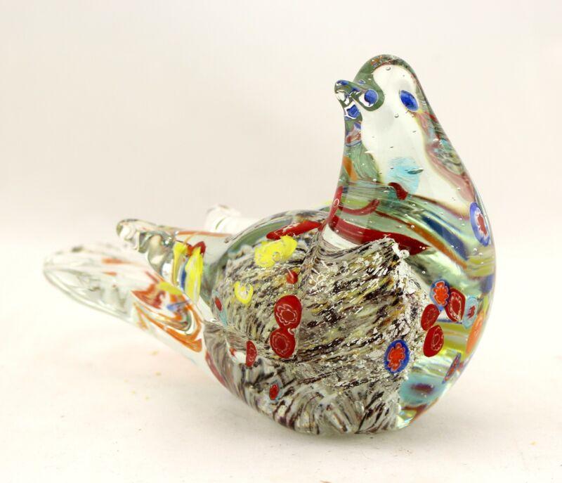 "New 7"" Hand Blown Art Glass Bird Sparrow Figurine Sculpture Statue Multicolor"