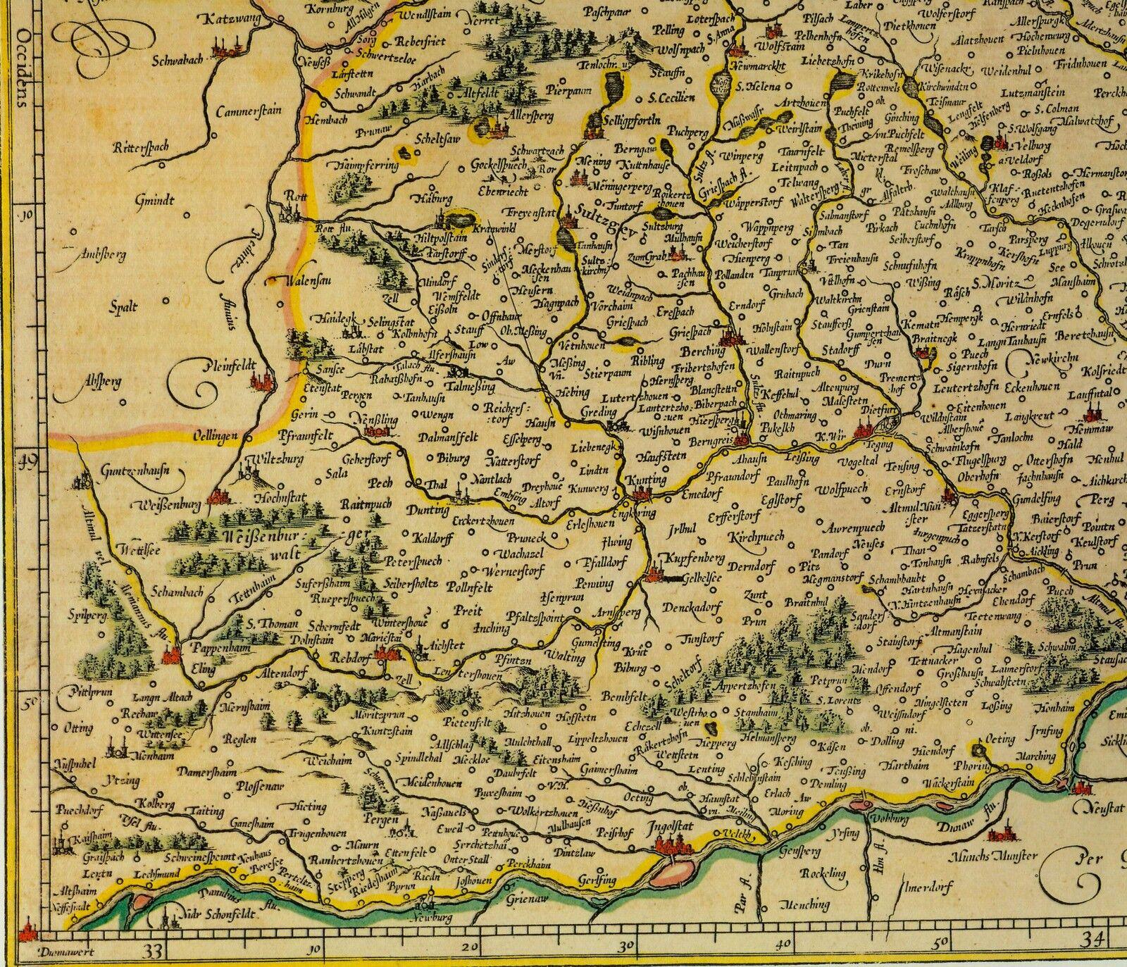 historische landkarte bayern cham beilngries straubing neuburg a d donau 1658 eur 20 00. Black Bedroom Furniture Sets. Home Design Ideas