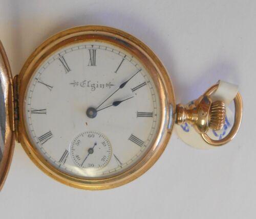 Elgin Womans 14K Yellow Gold 3 Diamonds Pendant Pocket Watch 8447447 15J O Size