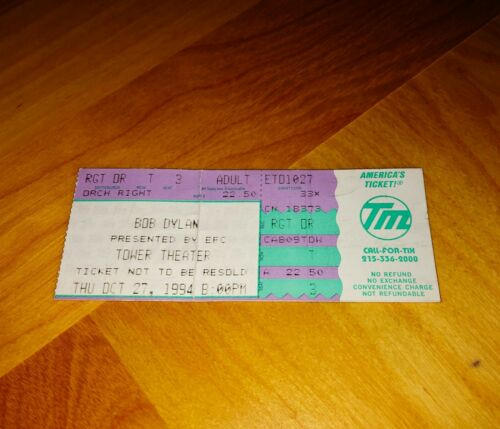 BOB DYLAN Concert Ticket Stub October 27 1994 Tower Theater FREE SHIPPING