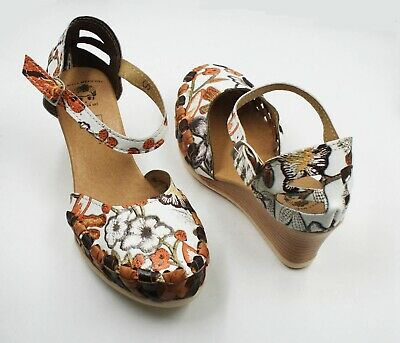 Leather Espadrilles Wedge - Women Genuine Leather Espadrille Wedges Mexican Sandals with Brown Flower Paint