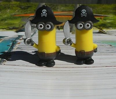 Cute Pirate Kevin Minion Earrings on Nickel Free Hooks.  - Cute Pirate