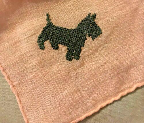 Scotty Scottie Dogs Black Cross Stitch Pink Background Handkerchief