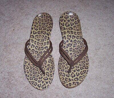 Size 6 CROCS Leopard print foot bed with double straps FLIP FLOP sandals Sz.6