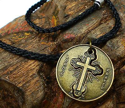 Kreuz Pilger Kette Kruzifix Kettenanhänger runder Jesus - Anhänger am Band