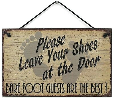 Welcome Sign 5x8 Please Leave Your Shoes At The Door Bare Foot Guests are