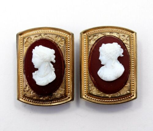 2 Antique VICTORIAN Gold Filled Carnelian Stone CAMEO Cufflink Button Holders